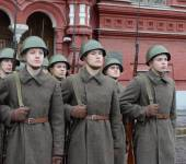 Russian soldiers prepare to parade in Red Square in Moscow. — Stock Photo
