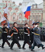 The cadets  of the Moscow Suvorov military school  at the parade on Red Square in Moscow. — Stock fotografie