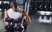 Handsome Muscular Male Model Posing With Dumbbells  — Foto de Stock