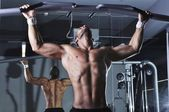 Handsome Muscular Male Model With Perfect Body Doing Pull Ups — Stock Photo