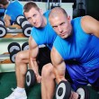 Muscular man exercising in a gym — Stock Photo #57075873