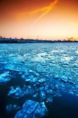 Ice floe on a river — Stock Photo