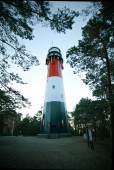 Steel lighthouse Stilo hidden in forest in a evening — Stock Photo
