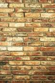 Vertical view of a wall made of bricks. Traditional material. Grunge background of brick wall texture — Stock Photo