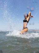 Having fun at sea water — Stockfoto