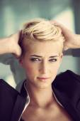 Short hair blonde woman — Stock Photo