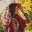 Autumn fashion woman outdoor — Stockfoto #57656209