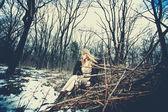 Winter hippie style woman — Stock Photo