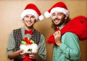 Wo emotional Santa Claus dressed in clothes hipster — Stock Photo