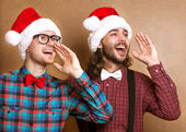 Wo emotional Santa Claus dressed in clothes hipster — Stockfoto