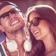 Close up portrait of happy smiling hipster couple in love. Weari — Stock Photo #54340657