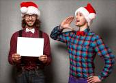 Two smiling Santa Claus in Christmas — Stock Photo