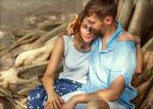 Couple in love happy in the park — Stock Photo