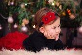 Baby Girl Under Christmas Tree — Stock Photo