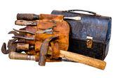 Outils de Vintage, ceinture porte-outils et boîte à Lunch — Photo
