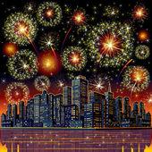 Firework City At Night. Vector — Stock Vector