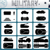 Various Military Vehicles. Vector Icons — Stock Vector
