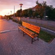 Urban cityscape with benches and lanterns in the evening — Stock Photo #74666469