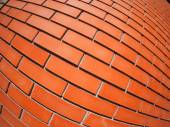 New red brick wall with distortion lens — Stock Photo