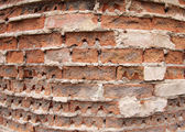 Fragment of the old wall of the destroyed bricks — Stock Photo