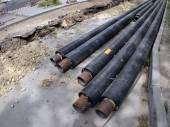 Repair work on the street - replacement of pipes — Stock Photo