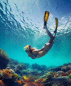 Lady in the sea — Stock Photo