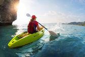 Woman on the kayak — Stock Photo