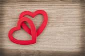 Coeurs sur bois — Photo