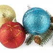 Christmas balls and branch of fir-tree — Stock Photo #59550923
