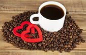 Two hearts and coffee — Stock Photo