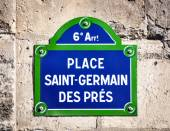 Place Saint-Germain des Pres street sign  — Stock Photo