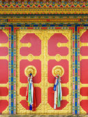 Kapan buddhist monastery door detail, Nepal — Stock Photo