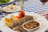 Beef steak with mushroom sauce meal — Stock Photo