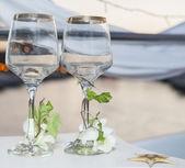 Pair of ornate wine glasses — Stock Photo