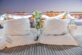 Pair of cushions on a boat — Stock Photo