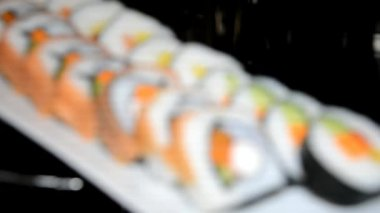 Sushi on display in restaurant — Stock Video