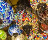 Ornate lamps hanging at a market — Stock Photo
