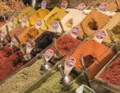 Spices on display at a market stall — Stock Photo