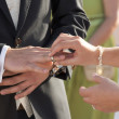Bride putting ring on grooms finger — Stock Photo #71386931