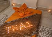 Closeup of Thai massage bed — Stock Photo