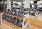 Rack of weights in a gym — Stock Photo