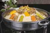 Lamb meat on couscous at an oriental restaurant — Stock Photo
