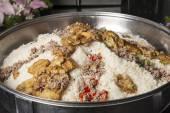 Oriental maklouba rice at a hotel restaurant buffet — Stock Photo