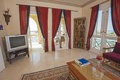 Balcony of a luxury villa with sea view — Stock Photo