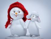 Cheerful snowman and penguin — Foto de Stock