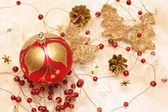 Christmas decorations, red bauble — Photo