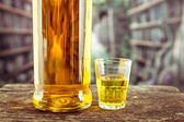 Bottle and glass shot with yellow liqour resembling whiskey, rum, tequila, spirit — Stock Photo