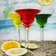 Fruity cocktails in the beach — Stock Photo #54402507