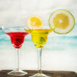 Fruity cocktails in the beach — Stock Photo #54402509