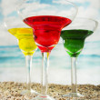 Fruity cocktails in the beach — Stock Photo #54405021